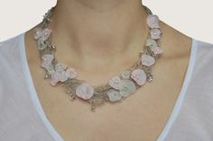 Delicate Crocheted Linen NecklaceNICOLE Pale Pink by magdalinen