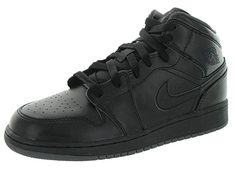 4e81d8e580f4 Shop for Nike Jordan Kid s Air Jordan 1 Mid Bg Black Black Dark Grey Basketball  Shoe. Get free delivery at Overstock - Your Online Shoes Store!