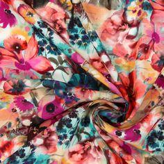 Blusenstoff Blütenpracht 1 - Polyester - pink