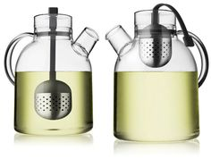 "The Kettle Teapot, designed by Norm Architects blends Asian Zen philosophy with modern Scandinavian design. Made of clear glass, which allows you to see the brewing process this unique tea pot also comes with a built-in tea steeper made of stainless steel and attaches to the lid with a silicon ""string."""
