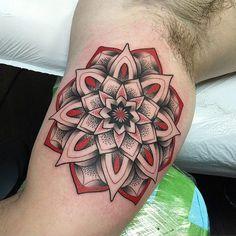 http://tattooideas247.com/red-mandala/ Red Mandala #ARM, #Biceps, #DavidMushaney, #Dotwork, #Mandala, #Red