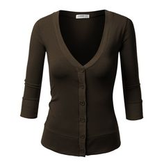 J.TOMSON Womens V-Neck Button Down Cardigan ($8) ❤ liked on Polyvore featuring tops, cardigans, jackets, button down, sweaters, vneck tops, brown v neck cardigan, button up cardigan, v neck cardigan and button down tops
