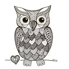 Black&White Zentangle Inspired Owl with Heart por Alice Gerfault Mandala Art, Mandala Doodle, Mandala Drawing, Owl Coloring Pages, Coloring Books, Printable Coloring, Zentangle Patterns, Zentangles, Owl Patterns