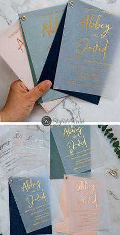 stunning gold foil vellum wedding invites with colorful shimmer backer SWPI107 #wedding#weddinginvitations#stylishwedd#stylishweddinvitations #vellumweddinginvitations