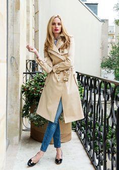 Lauren Santo Domingo wears a trench coat in Paris, France