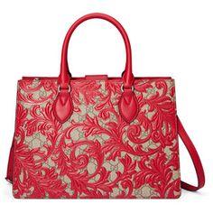 Gucci Arabesque Canvas Top Handle Bag