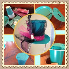 Mad Hatter Hat out of paper cup & plates from the dollar store