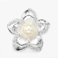 Metal Design Pearl Flower Brooch