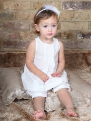 This top and pants set is a truly gorgeous girl's christening or baptism outfit. #christening outfit #girl's christening outfit #baptism outfit girl #girl's christening #ivory girl's christening outfit