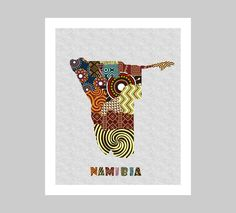 Namibia Map Art Print Wall Decor, Namibia Poster, Windhoek Namibia African Art Print, African Map, Namibia Painting AVAILABLE @ $15