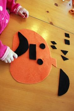Fun preschooler/toddler activity: Cut out basic shapes and create different faces for your pumpkin! by sallie