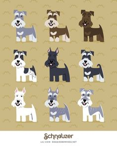 Schnauzer Framed Art Print by Doggie Drawings By Lili Chin - Vector Black - Schnauzer Art, Miniature Schnauzer Puppies, Schnauzer Grooming, Dog Grooming, Schnauzers, German Dogs, Dog Crafts, Diy And Crafts, Dog Illustration