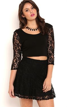 Deb Shops Black Lace Skater Skirt $10.00