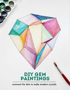 DIY Crystal Gem Jewel Paintings – Watercolor crafts with Kids – Geometric Art | Small for Big