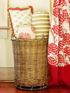 Toss pillows in a wicker hamper at bedtime to help keep them clean and off the floor.