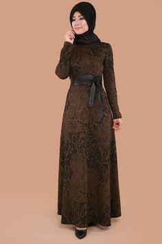 ** SONBAHAR / KIŞ ** Desenli Deri Kemerli Elbise Taba Ürün kodu: BNM00237 --> 109.90 TL