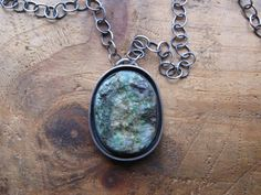 Raw Chrysocolla and Sterling Silver Necklace by Walker Silverworks. I love Erica's work!!'