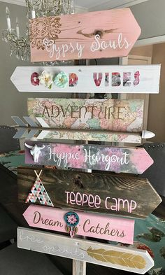 Custom Bohemian Hippie Gypsy Directional Sign Hand Painted