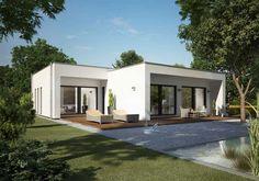 Inspiration Haus Flachdach Mit Design Weißer Farbe Mit Dem Design Von  Holzböden Für Terrassen Und Füllen