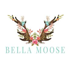 Antlers Logo Design, Moose Logo, Deer Logo, Watercolor Antlers, Watercolour Antlers, Shabby Chic, Bohemian Logo, antlers and flowers