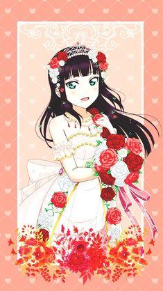 Lockscreen (ღ˘⌣˘ღ) Wedding ♥(ノ´∀`) Live Backgrounds, Live Wallpapers, Manga Art, Anime Art, Dia Kurosawa, Kawaii Anime Girl, Anime Girls, Idol, Digital Art Anime