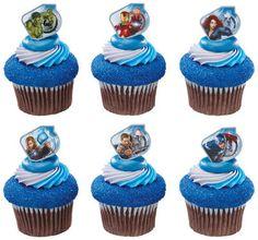 24 The Avengers Cupcake Rings Birthday Party Hulk Iron Man Thor Captain America | eBay