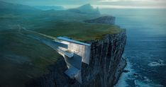 This daring concrete retreat carved into the cliffside in Iceland looks like a natural extension of the rough landscape. Architect and artist Alex Hogrefe designed the building as a reflection of the country's craggy glaciers with enviable ocean views. Amazing Architecture, Landscape Architecture, Architecture Design, Concrete Architecture, Architecture Panel, Architecture Portfolio, Historical Architecture, Residential Architecture, Contemporary Architecture