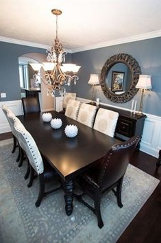 Turquoise Room Ideas - Turquoise it can be vibrant and strong, it's also calming and relaxing.Here are of the very best turquoise room interior decoration ideas. Dining Room Remodel, Dining Room Colors, Dining Room Makeover, Dining Room Design, Beautiful Dining Rooms, Dinning Room Decor, Room Remodeling, House Interior, Dining Room Blue