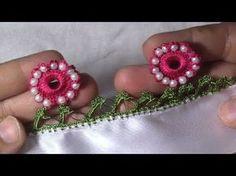 inci boncuklu motifli tığ oyası yapımı - YouTube