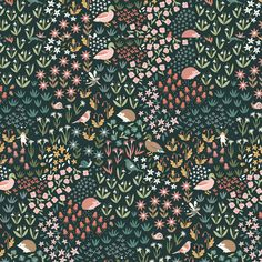 Critters & Fairies in Charcoal - Hawthorne Supply Co Modern Fabric, Pattern Design, Charcoal, Fairy, Fabrics, Haberdashery, Patterns, Kids Rooms, Ribbons