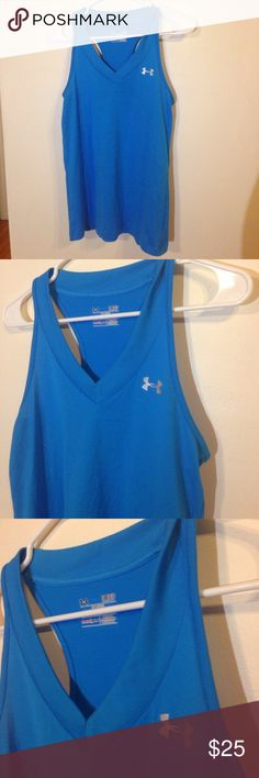 🚨1•HOUR•SALE🚨☀️•• Tank Top Womens Small Under Armour Womens Tank Top Womens Size Small. Blue. Racer Back. Heat Gear. Great for running hiking biking Under Armour Tops Blouses