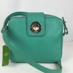 """Authentic Kate spade Chrystie street KATE SPADE Chrystie Street Isla Shoulder Bag - Gorgeous Bag! NWT $298 Authentic! 7""""H x 3""""D x 8""""L """"Verna"""" - gorgeous light green pebbled leather Gold tone hardware  Shoulder strap with 20"""" drop Top zip closure Flap with gold tone turn lock closure Black and ivory interior lining 1 interior zip pocket kate spade Bags Crossbody Bags"""