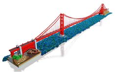 12-foot-long LEGO Golden Gate Bridge is realistically suspended