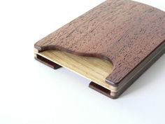 Wooden card holder  double sided case for business by Woodstorming, €60.00