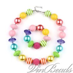 New Rainbow Color Chunky Beads Bubblegum Gumball Necklace Bracelet Set Jewlery #Unbranded #Necklace