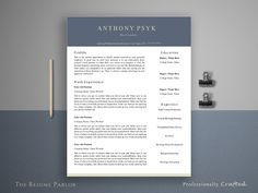 Resume Template 4 Page | Bartender @creativework247