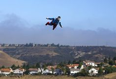 Superman airplane in the sky of San Diego, California