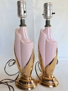 1950s Mid Century Lamps, Vintage PINK Ceramic Lamp Set, HOLLYWOOD REGENCY Gold Luster Ceramic Lamp, 1940s Deco Ceramics, Baby Shower Gift ...Available CHEAP in Etsy shop www.etsy.com/shop/73Chestnut Hollywood Regency Decor, Lamp Sets, Powder Pink, Vintage Pink, Luster, 1940s, Baby Shower Gifts, Mid-century Modern, Barware