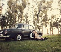 Car. engagement pictures with old cars