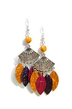 Boucles d oreilles pendantes Nespresso légères en métal argenté et  aluminium - Eventail - Orange 3735f1b06a4