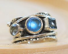Hippie ring silver ring wire band twotone ring blue by artisanlook
