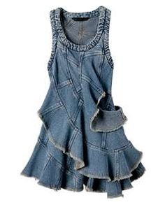 ~` denim dress `~  I want this in floor length!  //  brown boots  bag  //  red or tourquoise jewelry  //  floor length would be nice too, but like it like this also