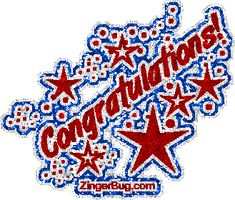 Congratulations Red White Blue Glitter Graphic Glitter Graphic, Greeting, Comment, Meme or GIF