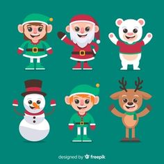 Caracter flat design Vectors, Photos and PSD files Merry Christmas Banner, Christmas Doodles, Christmas Card Template, Funny Christmas Photos, Funny Christmas Cards, Christmas Humor, Character Flat Design, Realistic Cartoons, New Year Illustration
