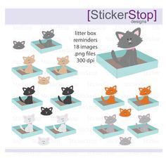 Litter Box Reminder, PNG Digital Clipart - Instant download - cats, kittens, kitty, animals, cat box reminder, clean litter box sticker by StickerStop on Etsy https://www.etsy.com/listing/269352459/litter-box-reminder-png-digital-clipart
