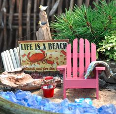 Miniature Gardening. Small gardens in pots and planters with a beach theme.  #miniaturegardens #fairygardens