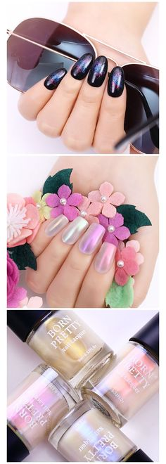 🙆 Happy Saturday, guys, have your tried to use this BORN PRETTY Shell Glimmer Nail Polish as stamping polish, so amazing, isn't it? Nail Polish Crafts, Best Gel Nail Polish, Glitter Nail Polish, Glittery Nails, Metallic Nails, Born Pretty Nail Polish, Pretty Nails, Nail Art Supplies, Us Nails