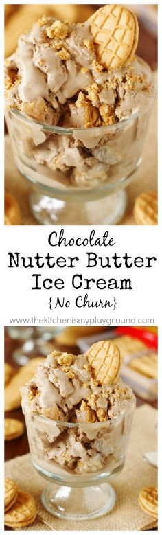 {No Churn} Chocolate Nutter Butter Ice Cream ~ A delicious {& easy} chocolate & peanut butter take on cookies and cream!   www.thekitchenismyplayground.com