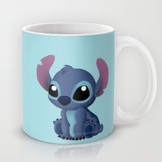 Chibi Stitch Mug by Katie Simpson  - $15.00 Ever since I drew Chibi Toothless I have been wanting to draw one of Stitch. I can't get over how much those two look a like.    (Disney Lilo and Stitch, Alien, 626, experiment 626, vector, fan art, Katie Simpson, Redhead-K, Chibi's, cute, funny, love, Ohana, Ohana means family. Family means nobody gets left behind or forgotten.)