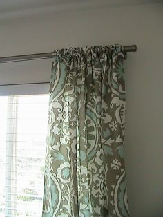 Suzani curtains in grey/powder blue